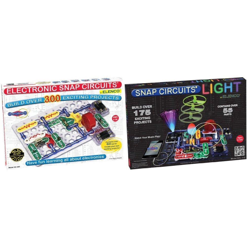 Snap Circuits SC-300 Electronics Discovery Kit with Snap Circuits Lights Electronics Discovery Kit Bundle
