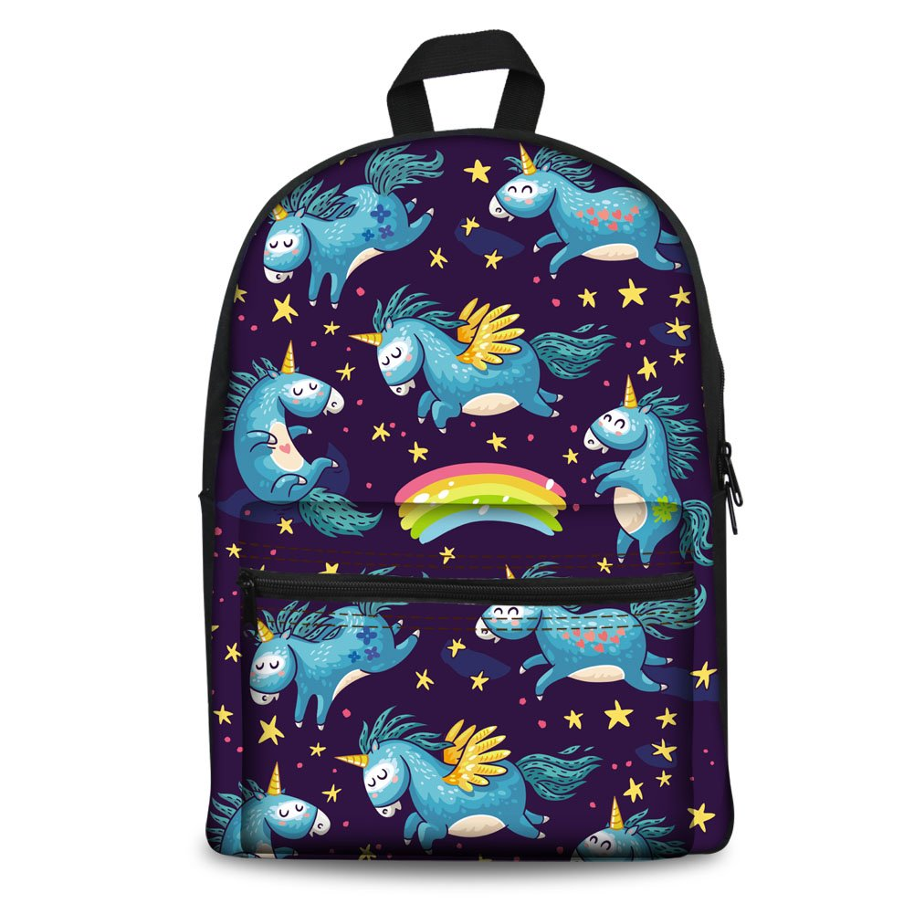 durable service Coloranimal Cute Horse Backpack for Girls Children Purple Canvas School Bags
