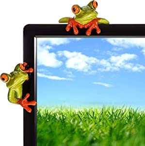 Jetec 2 Pieces Funny Resin Frogs Decor, 3D Craft Frog Figurine Decorations, Creative Frog Resin Ornament Office Desk Toy for Home Office Computer Monitor Desk Decoration