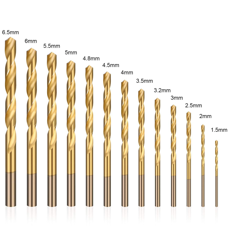 Vetro Legno Forstner Drill Bit 13 Set Mattoni 1.5mm~6.5mm Come Cemento HSS Punte Plastica flintronic/® Punte da Trapano Set Adatto per Diversi Materiali