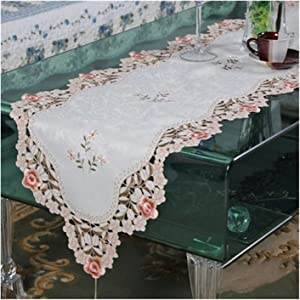 Style Embroidered Table Runner Table Cover Coaster Rose Flower TV Cabinet Cloth Wedding Home Textile (Color : Little, Size : 40X175cm Table Flag 3)