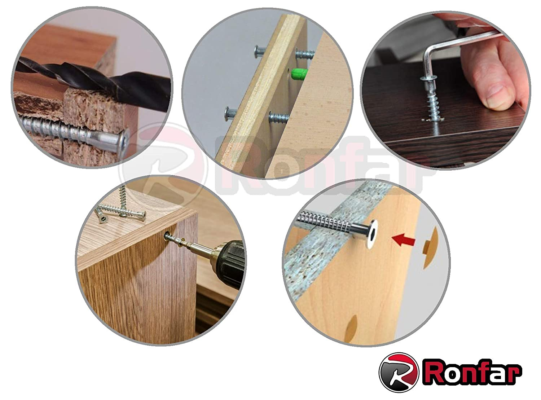 RONFAR Vis d/'assemblage Muebles Connecteur Vis Confirmat 7x50mm 50 pi/èces