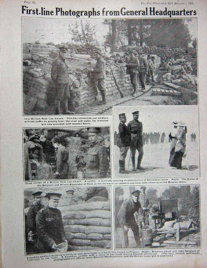 Impresión Antigua de la Estufa Británica de Francia del Canadiense del Foso de 1915 Soldados Ww1: Amazon.es: Hogar