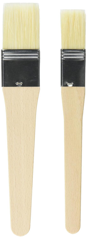 "KAISER Pâtisserie pastry brush set, 2-piece, 1"" and 1.5"", 20.5cm. Flexible natural bristles, 2 brush widths, secure metal ferrule 1"