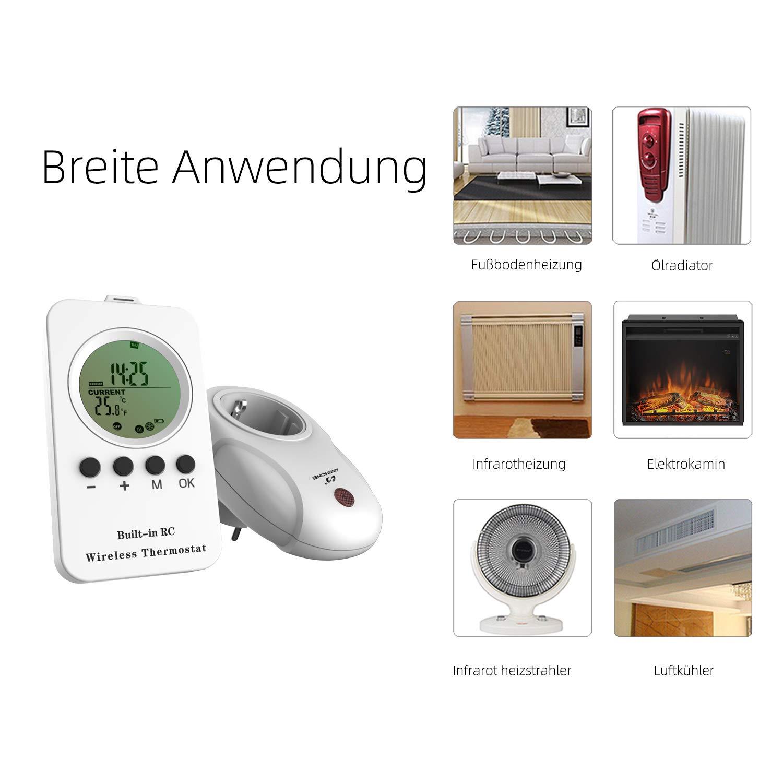 Infrarotheizung Thermostat mit Zeitschaltuhr Heizung- und K/ühlmodus 3680W NASHONE Thermostat Steckdose Wireless Steckdosenthermostat