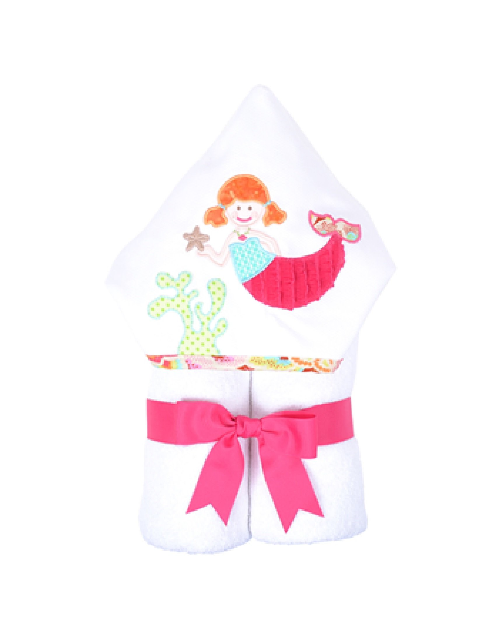 3 Marthas Boutique Everykid Hooded Towel (Pink - Merry Mermaids) by 3Marthas
