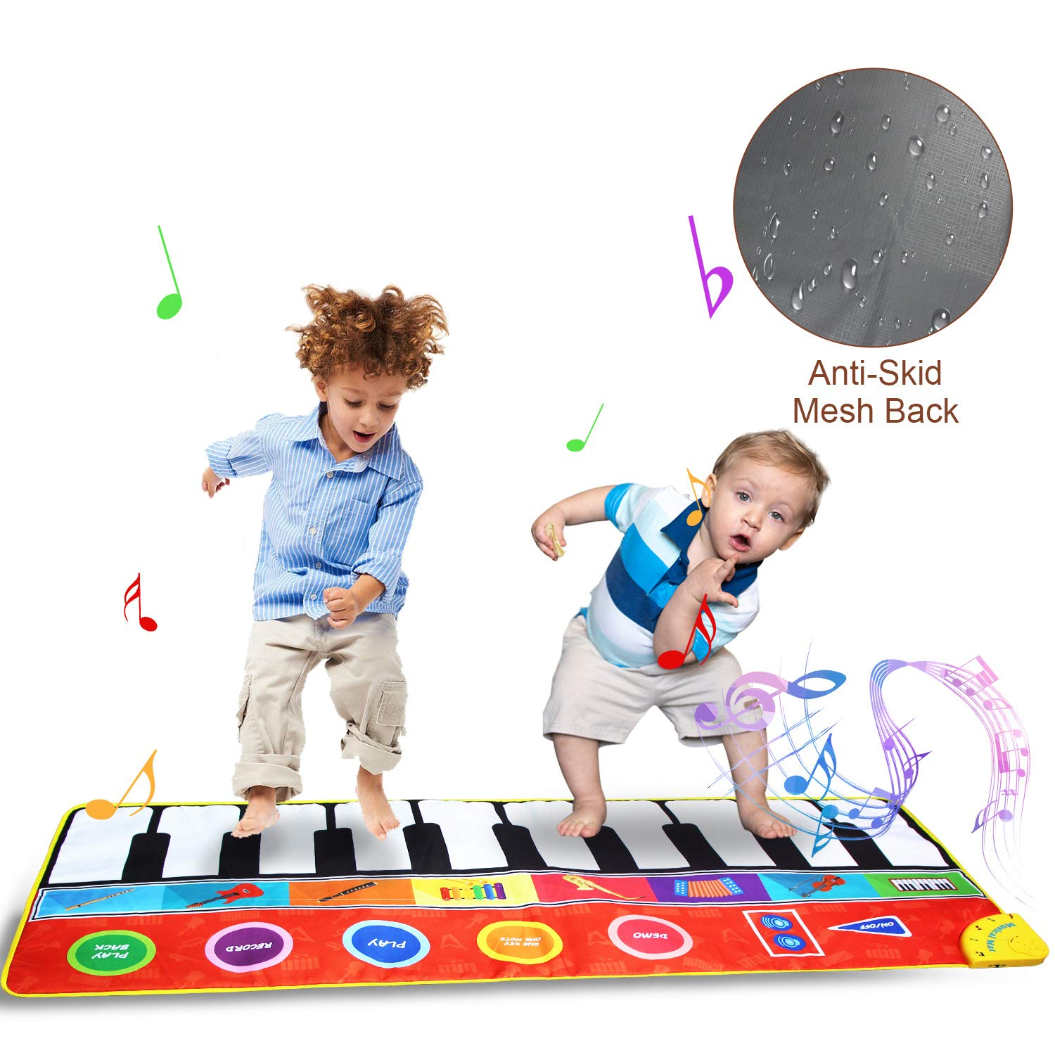 Jenilily Musical Dance Mat Anti-Skid Piano Electronic Keyboard Instrumental Dance Floor Interactive Music Mat Toys Musical Game Carpet Mat for Baby Shower Kid Children Gift Early Education by Jenilily (Image #1)