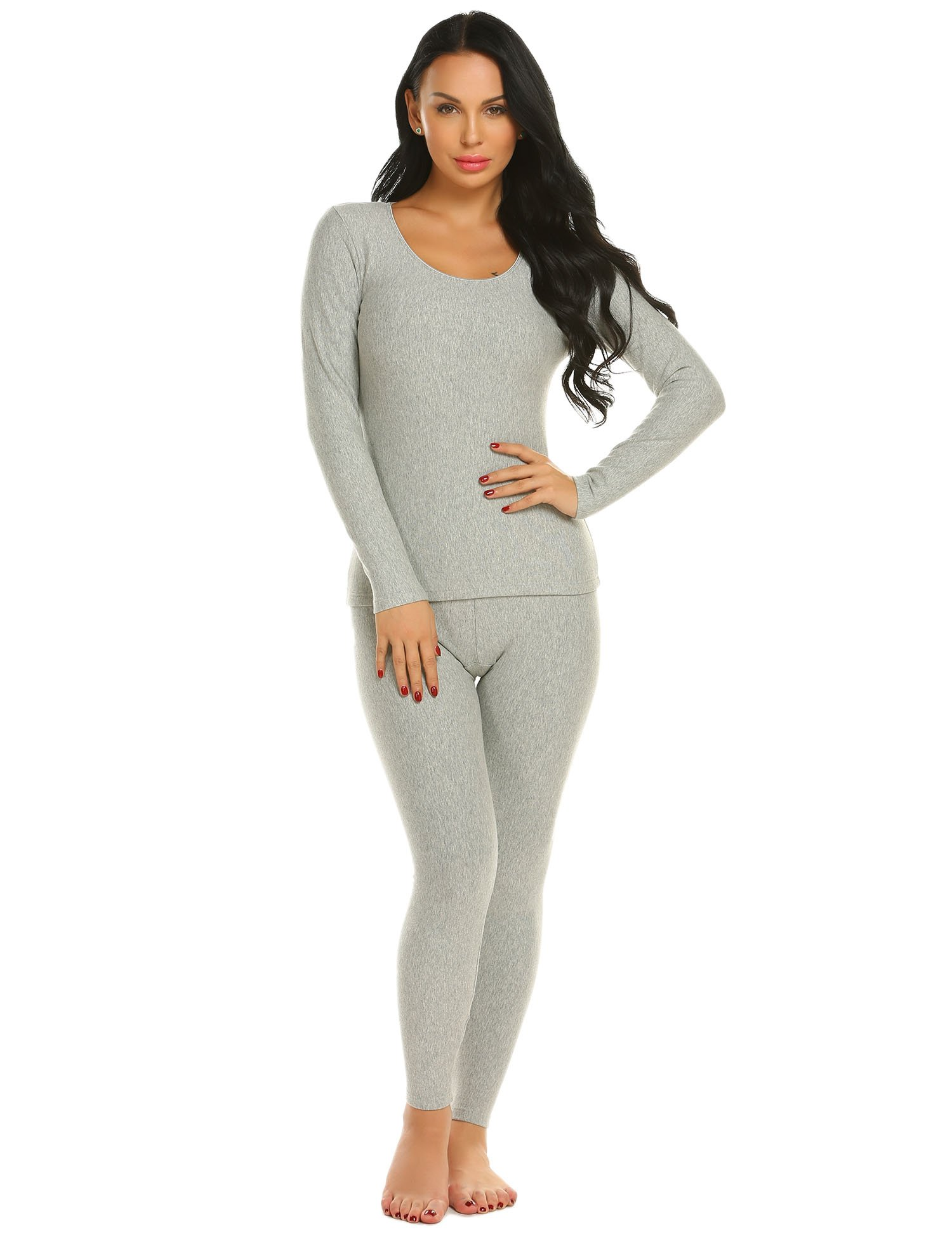 Ekouaer Long Thermal Underwear Fleece Lined Winter Base Layering Set for Women, Fleece-gray, Small