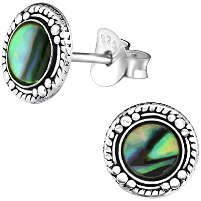 9b7ff35ff EYS Jewelry® Women Round Circle Earring 8 x 8 mm Oxidized 925 Sterling  Silver Abalone Paua Shell Green Blue Turquoise in Case Stud Earrings Charm:  ...