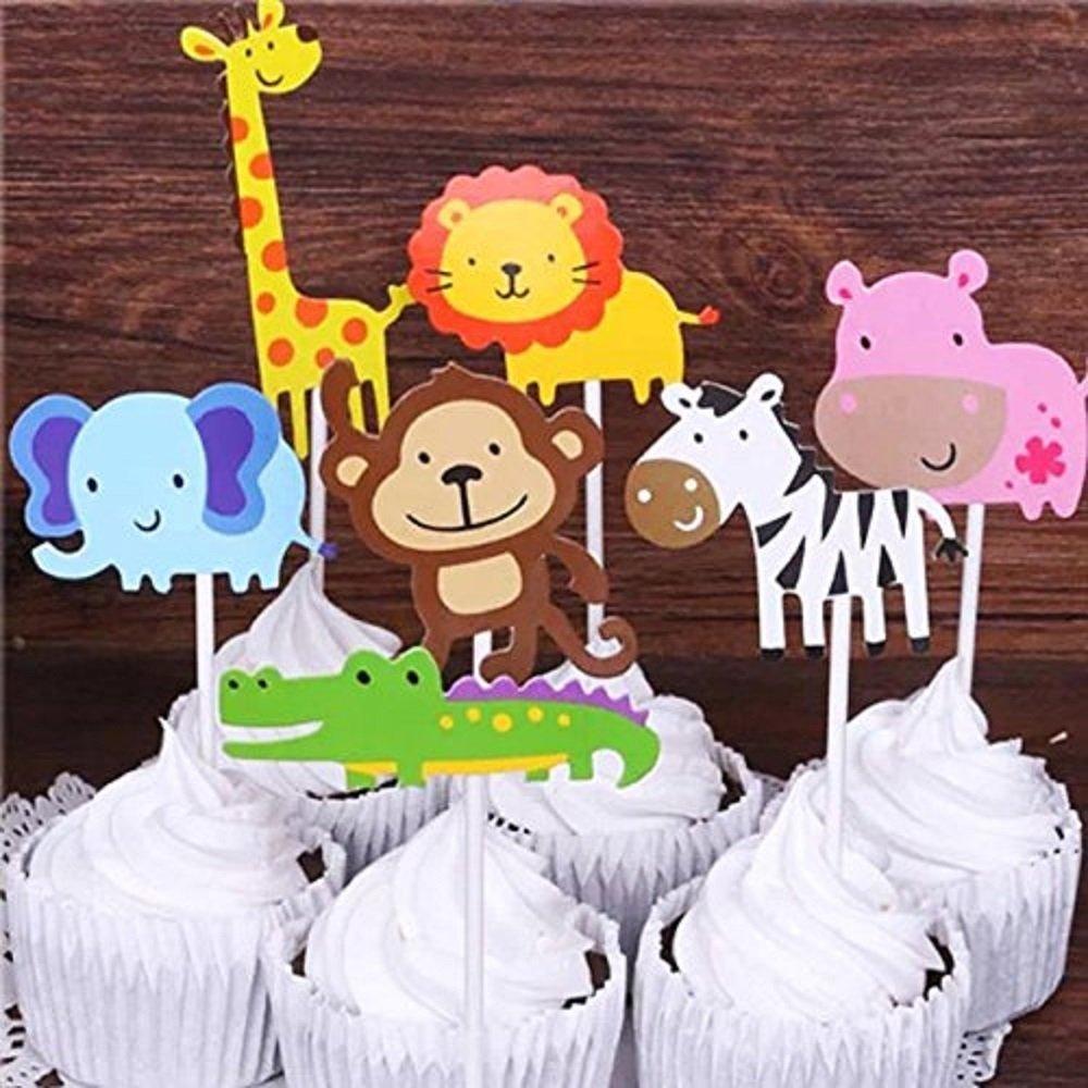 Amazon Kapoklife 28 Pack Cute Zoo Animal Cupcake Toppers Picks