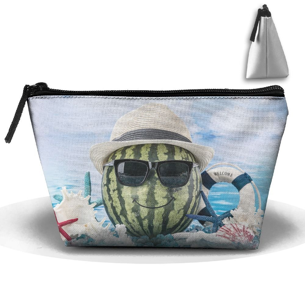 Cool Watermelon With Glasses On The Sea Portable Pouch Waterproof Trapezoidal Storage Bag