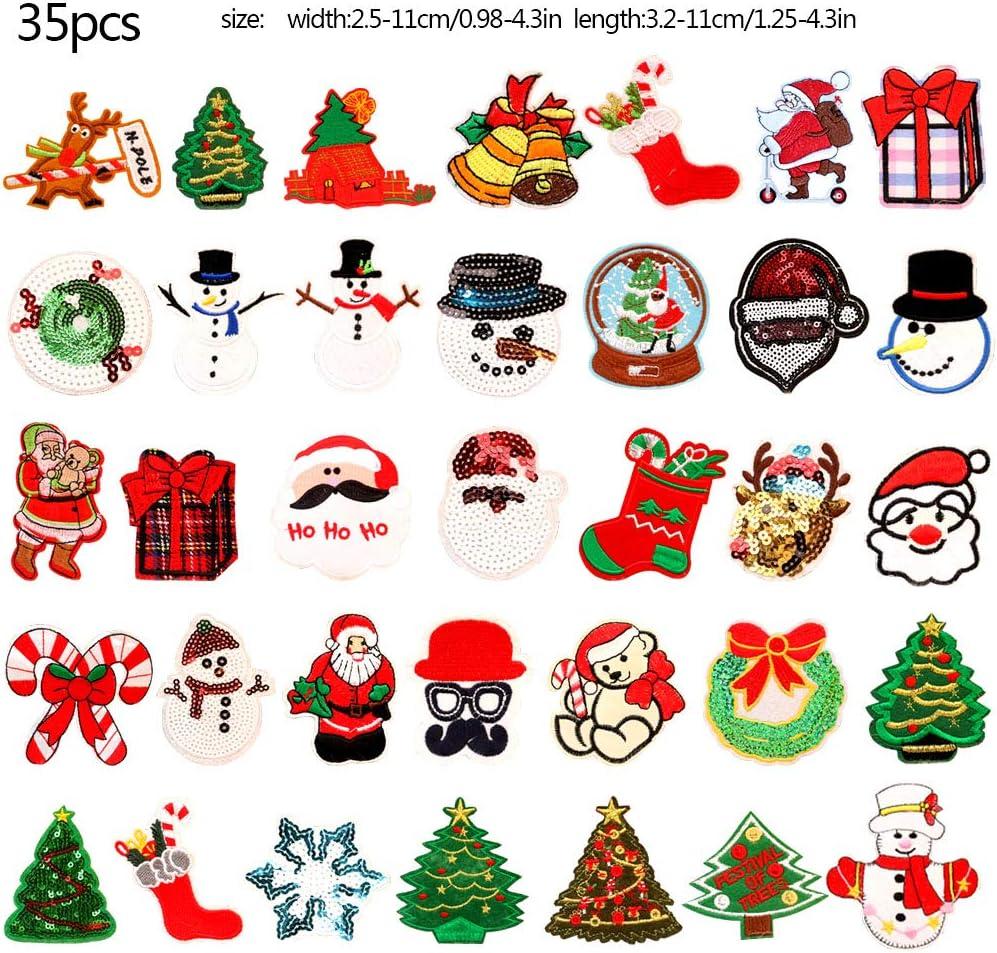 Patch Sticker Parches Bordados 35 piezas Navidad Santa Mu/ñeco de nieve Parche de nieve Parche bordado Bordado Coser hierro en parches DIY Reparaci/ón Apliques Pegatinas Insignia Apliques para ni/ñas DIY