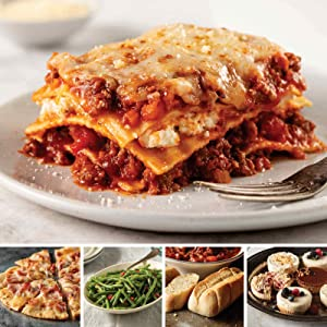 Student Meals Assortment from Omaha Steaks (Meat Lover's Lasagna, Artisan Flatbread: Prosciutto & Smoked Provolone, Green Beans, Mini Baguettes with Garlic Butter, and Individual Cheesecake Sampler)