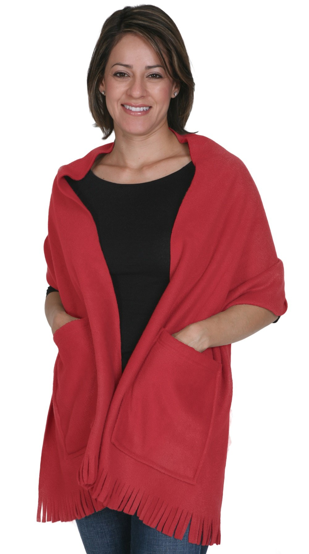 KC Caps Soft Fleece Fringed Shawl Wrap Shoulder Winter Scarf with Pockets Red