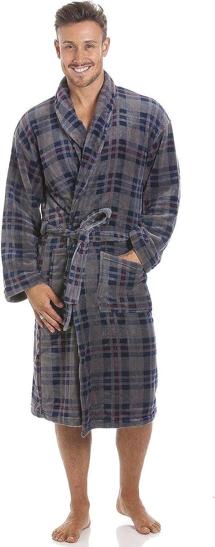 Robe de Chambre pour Homme Polaire Ultra Douce col ch/âle Motif /à Carreaux Bleu Marine//Gris