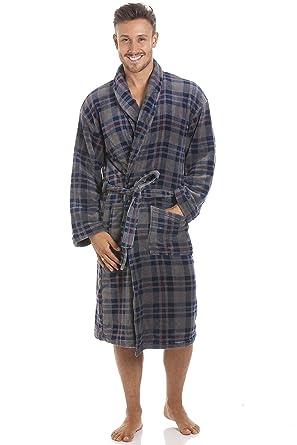 Robe de Chambre pour Homme Polaire Ultra Douce col châle Motif à Carreaux Bleu  Marine Gris  Camille  Amazon.fr  Vêtements et accessoires cadea7b4be7b