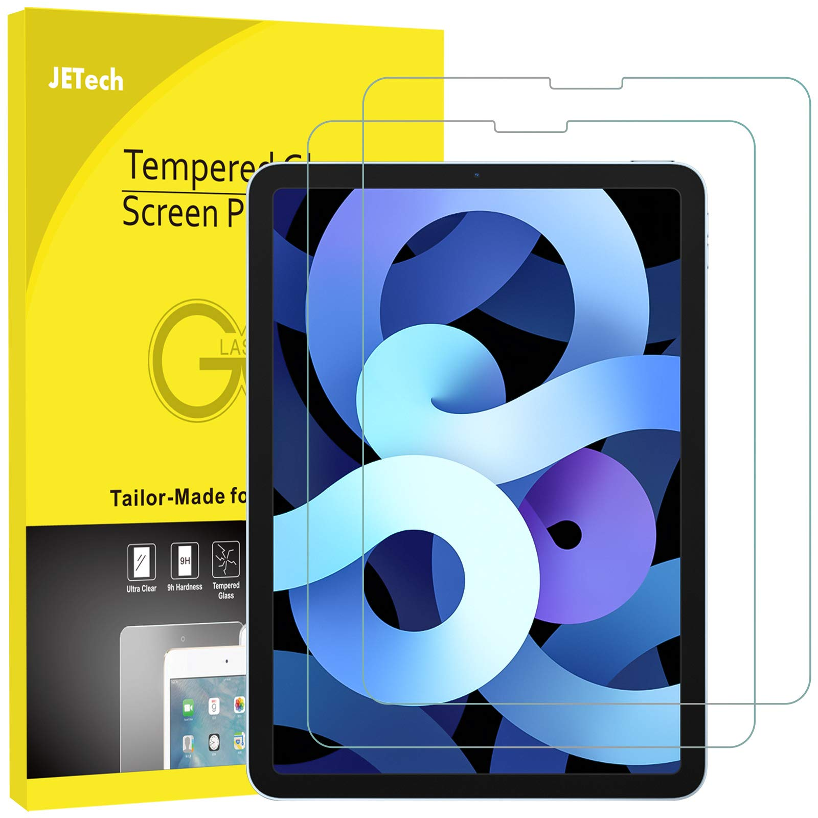 JETech 2-Pack Screen Protector for iPad Air 4 10.9-Inch, iPad Pro 11-Inch All Models, Face ID Compatible, Tempered Glass Film