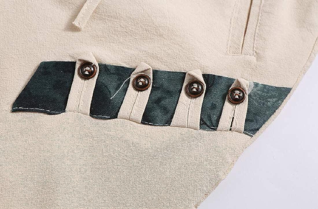 RRINSINS Men Casual Drawstring Slim Linen Capri Harem Pants Crop Shorts