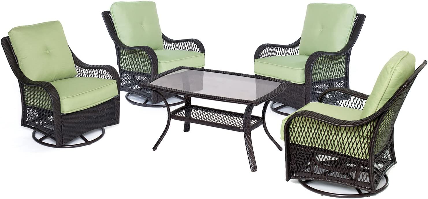 Hanover Orleans 5-Piece Patio Chat Set in Sahara Sand