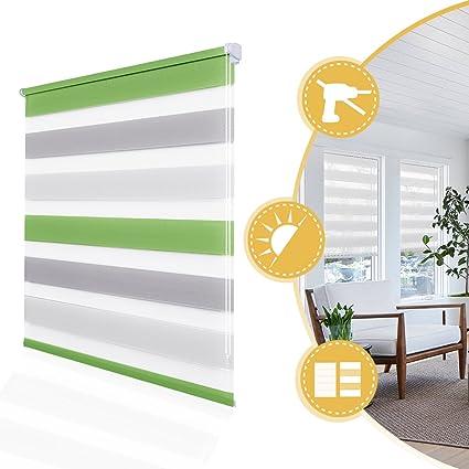 Store Enrouleur Jour Nuit Sans Percage Vert Gris Blanc 40 X 150 Cm 2 Types De Fixation Montage Facile Avec Clips Double Tissu 11 Couleurs