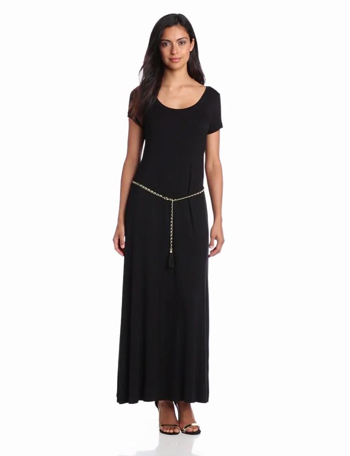 Calvin Klein Womens Solid T Shirt Maxi Dress, Black, Large