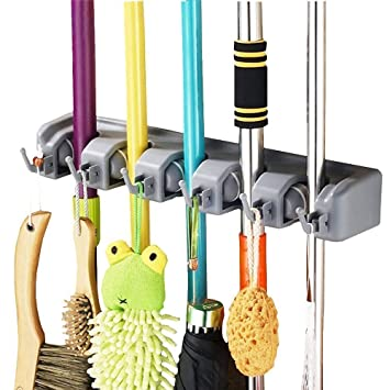 Asuvi Mop and Broom Holder with 5 Slot Position and 6 Hooks Upto 11 Tools(Size - 34 X 24 X 6 cm)