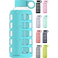 purifyou Premium 32 / 22 / 12 oz Glass Water Bottle | 12 oz, Aqua Blue | Non-Slip Silicone Sleeve and Stainless Steel…