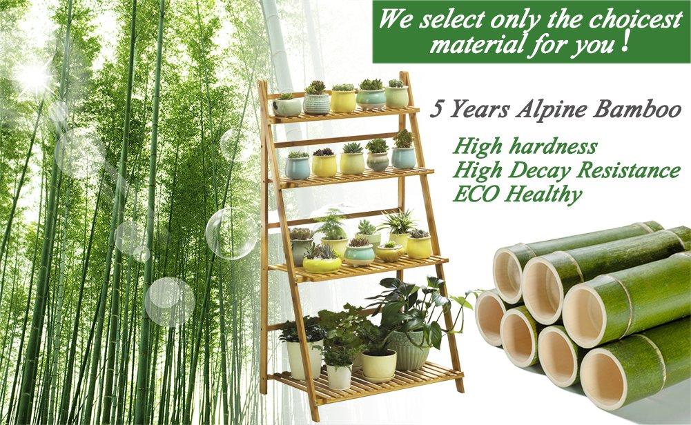 Bamboo 4-tier Plant Stand Planter Shelves Flower Pot Organizer Rack folding Display Shelving Plants Shelf Unit Holder