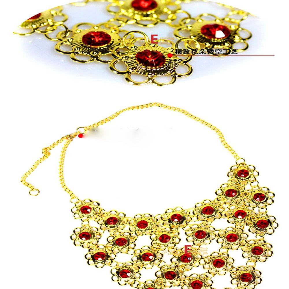 Lecent@ Fashion Belly Dance Red Flower Gemstore Necklace Stage Peformance Accessories