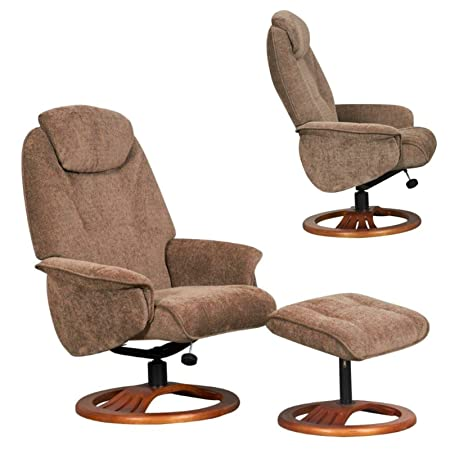 Global Furniture Alliance Oslo Chenille Fabric Recliner Chair And  Footstool, Mink