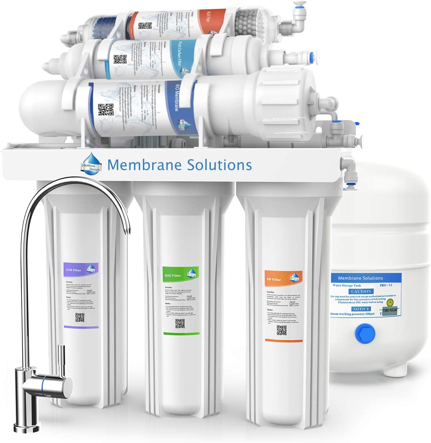 Sistema de filtro de agua alcalino de 6 etapas para remover el fregadero, con sistema de ósmosis inversa, purificador de agua potable de alta capacidad con tanque y grifo, PH-75GPD natural: Amazon.es: