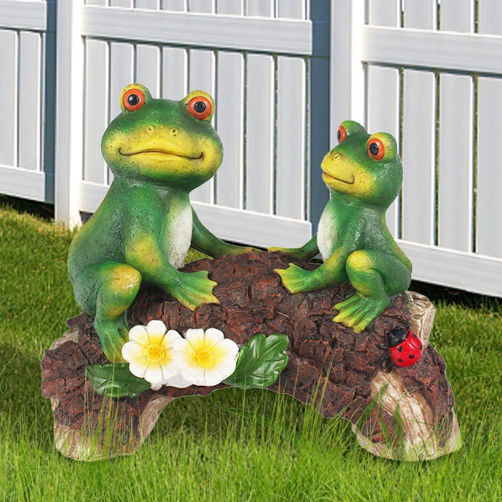 "Claratut Frogs Garden Decor Outdoor Ornament, Cute Frogs on a Bridge Statue for Patio, Yard, Lawn, Garden Ornament Outdoor Decor 8.5"" x 7"""