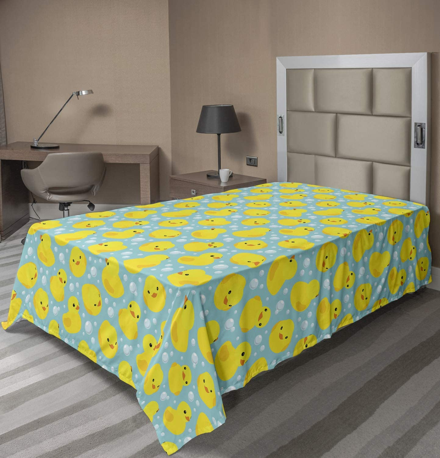 Rubber Ducks on Water Inspired Backdrop Bubbles Funny Pattern Twin Size Turquoise Yellow Orange Ambesonne Rubber Duck Flat Sheet Soft Comfortable Top Sheet Decorative Bedding 1 Piece