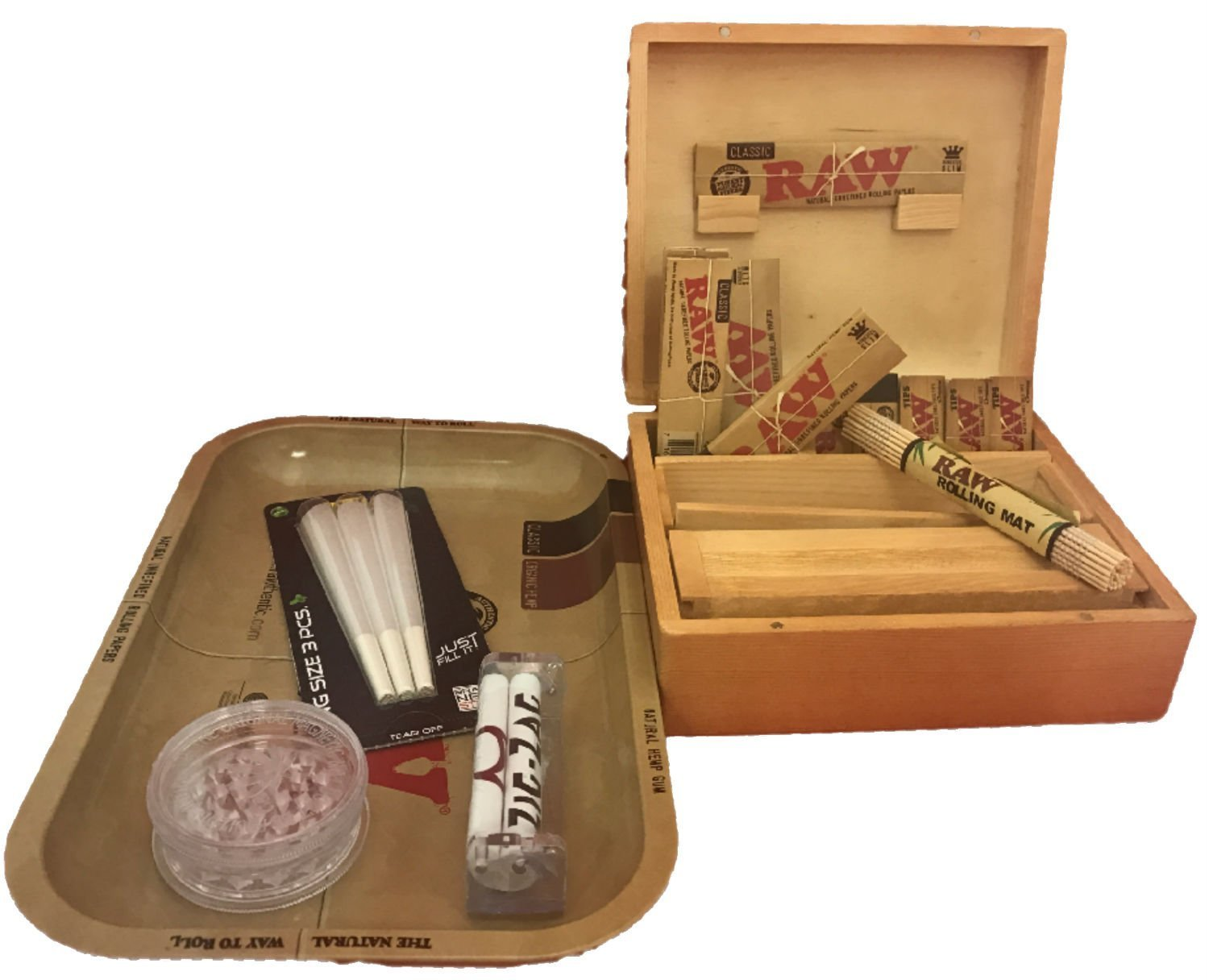 Shine GRASSLEAF Wooden Rolling Box with RAW Tray Gift Set- Includes Papers/Tips/Grinder/Rolling Machine/MAT (Large Box/Small Tray) (Large Box/Small Tray) by Shine