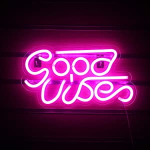 Good Vibes Neon Sign Lights Signs Lights with USB Decor for Room Bedroom Bar Restaurant Game Room Christmas Valentine's Day Birthday Party LED Art Decoration Light (Pink)
