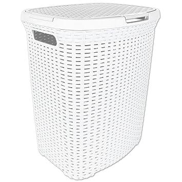 Waschekorb Waschetruhe Waschekiste Rattan Aus Kunststoff Weiss