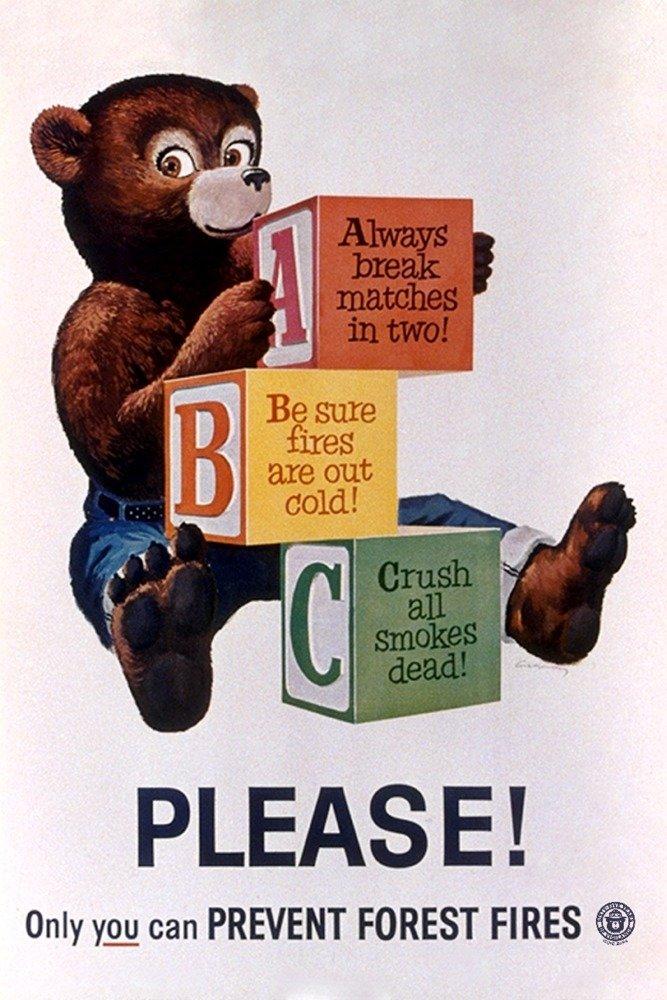 Smokey Bear – Please ABCs – ヴィンテージポスター 36 x 54 Giclee Print LANT-79804-36x54 36 x 54 Giclee Print  B06XZF9M6Z