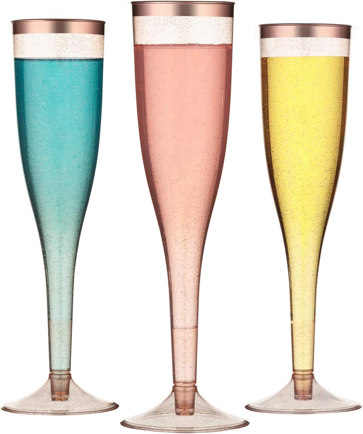 TOROTON 30 Flautas de Champ/án de Pl/ástico Vasos Alargadas Champagne para Fiestas Cumplea/ños Boda Oro Rosa Bordeado 162ml Reutilizables Transparente Copas de Champ/án