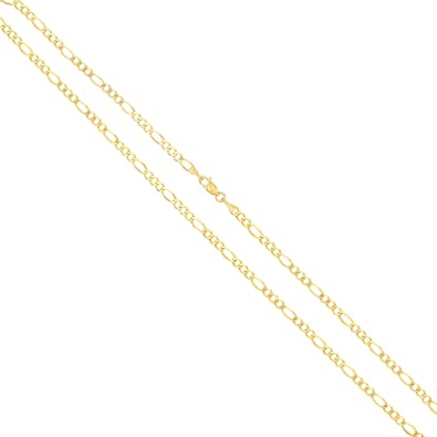 0e85a0604403 Amazon.com  Joule Shop 14K Solid Yellow Gold 4mm Figaro Link Chain ...