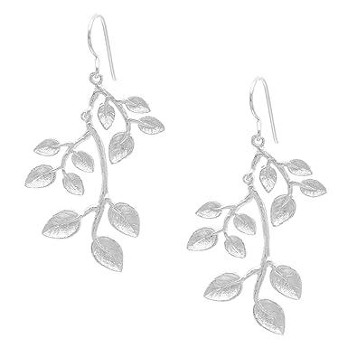 Silverly Women's .925 Sterling Silver Satin Branch Twig Leaves Plant Leaf Dangle Earrings 0kKkAJ71K