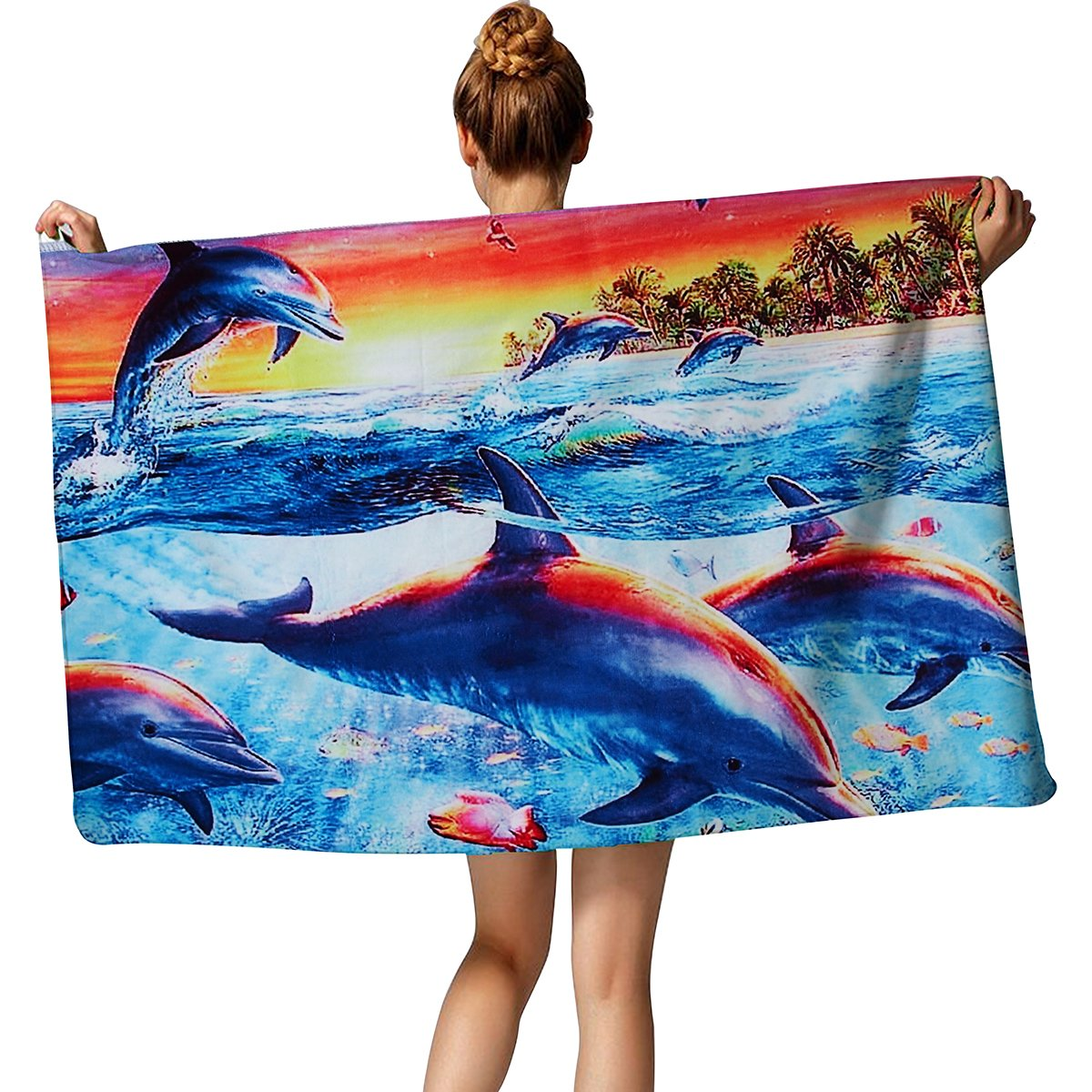 TUONROAD Kids Personalized Occasion Beach Towel Colorful Dolphin Turtle Fish Seaweed Tropical Beach Swim Bath Pool Shower Towel 30\