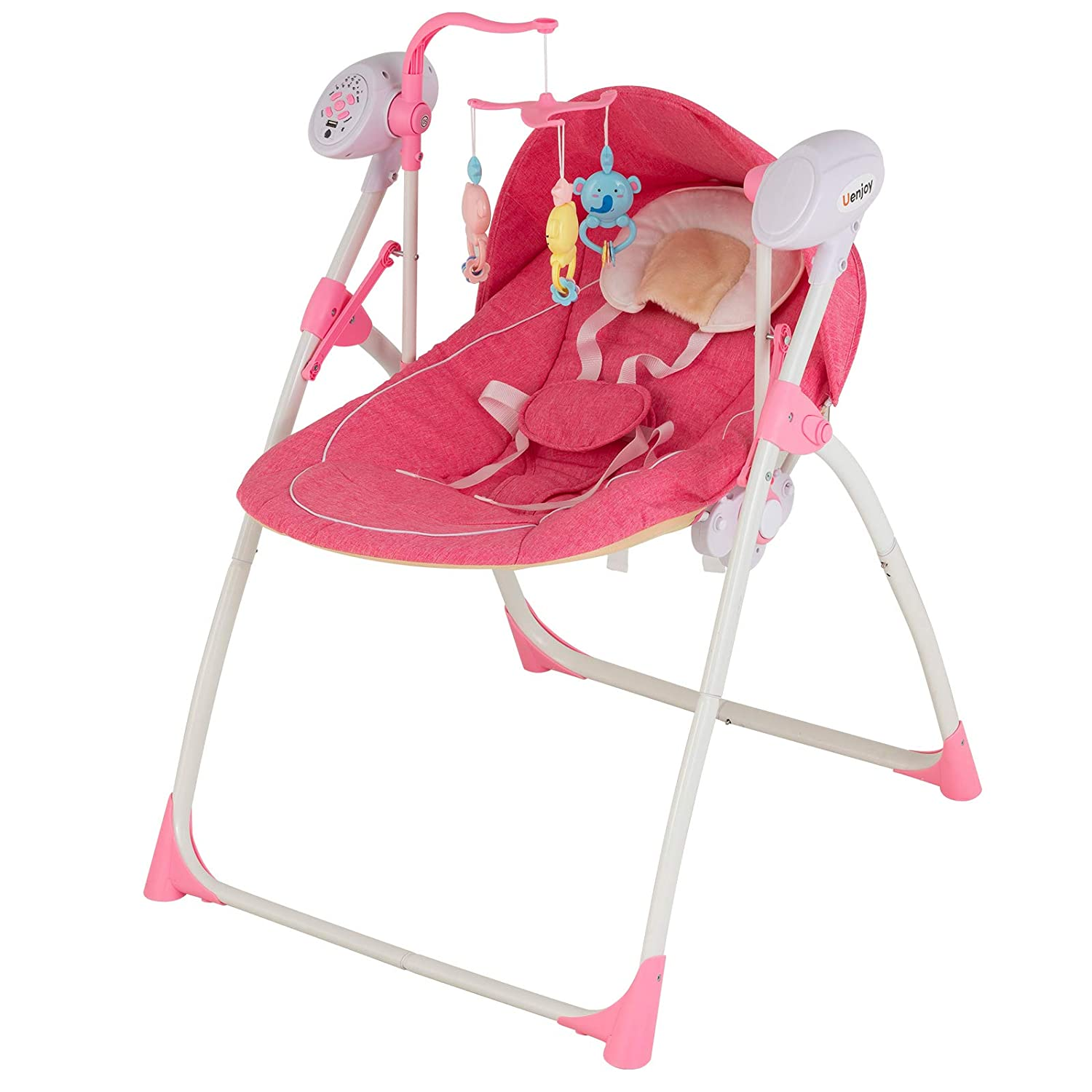 Uenjoy Baby Portable Swing Electric Rocking Cradle Bed Crib Bassinet with RC Remote Control, 5 Swing Speeds, Bluetooth, Timer, Music, Pink