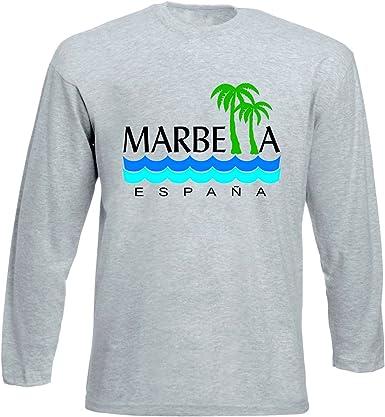 teesquare1st Marbella Spain Tshirt de Manga Larga Gris para Hombre: Amazon.es: Ropa y accesorios