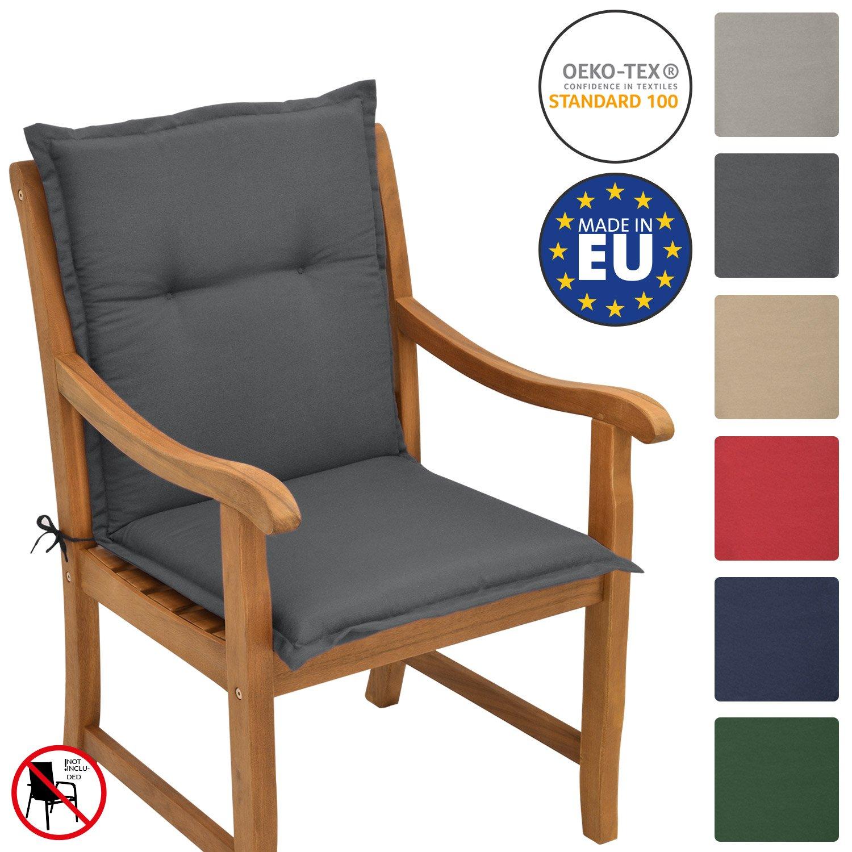 Beautissu Loft NL - Cojín para sillas de balcón o Asiento Exterior con Respaldo Bajo - 100x50x6 cm - Placas compactas de gomaespuma - Gris Grafito