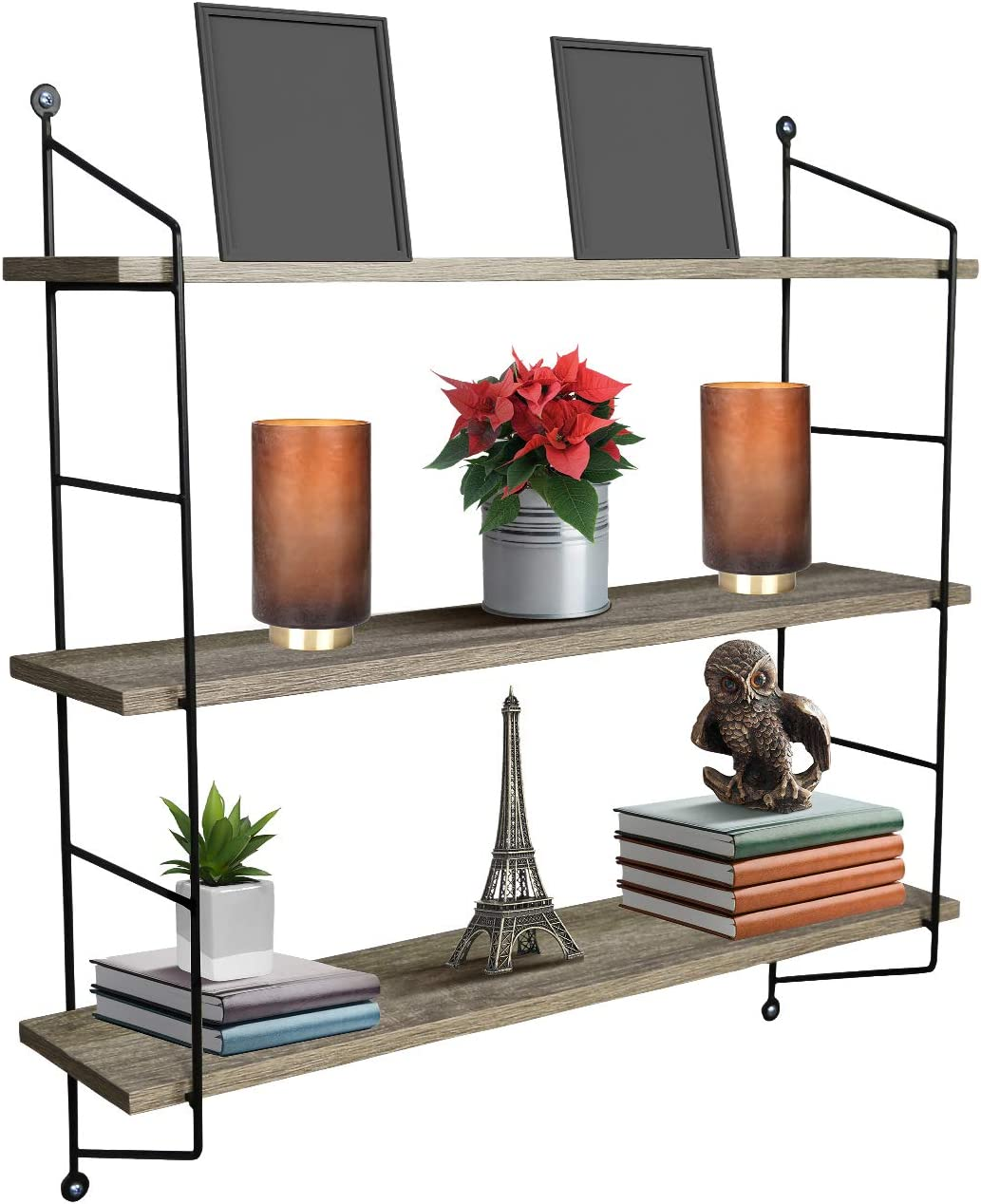 Sorbus Floating Shelf with Metal Brackets Wall Mounted Rustic Wood Wall Storage, Decorative Hanging Display for Trophy, Photo Frames, Collectibles, and Much More 3-Tier Grey