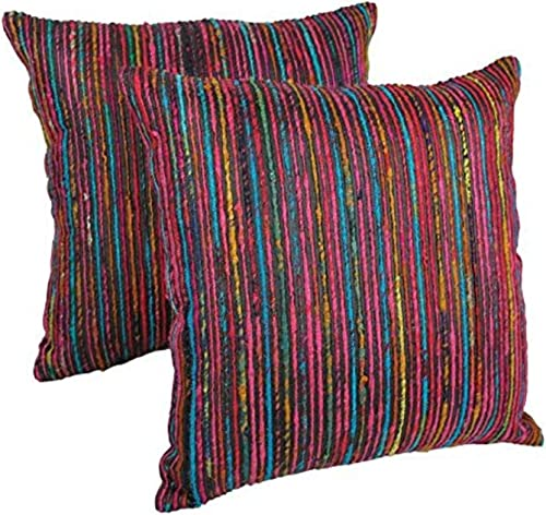 Blazing Needles Throw Pillow Set with Rainbow Yarn Threading Set of 2 , 20 , Black