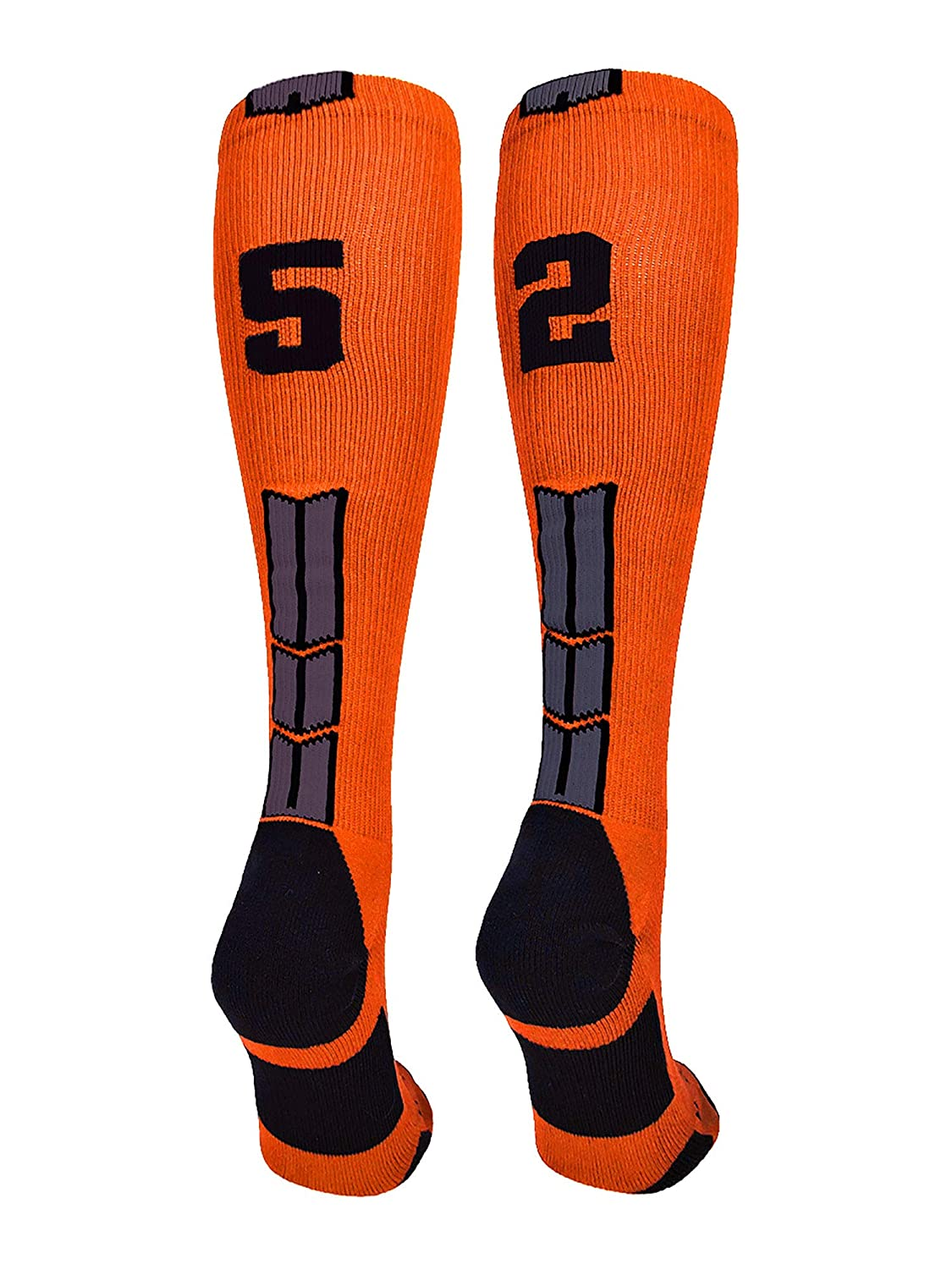MadSportsStuff Orange/Black Player Id Custom Over The Calf Number Socks (Pair)