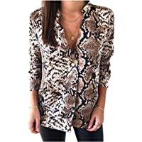 Domple Womens Casual Loose Buttons Trim Long Sleeve Snakeskin Print Top Blouse T-Shirt