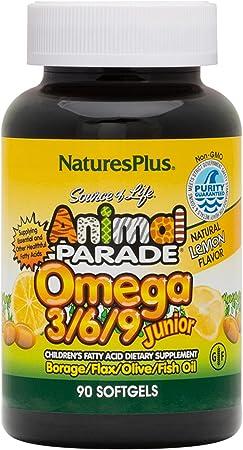 NaturesPlus Animal Parade Source of Life Omega 3 6 9 Junior - Lemon Flavor - 90 Softgels - Children's Fatty Acid Dietary Supplement - Non-GMO, Gluten-Free - 45 Servings