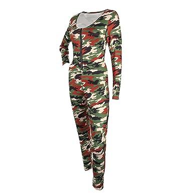 fdf066df30cc Z I Womens Sexy V-Neck Long Sleeve Camouflage Slim Nightclub Bodycon Jumpsuit  Rompers (S
